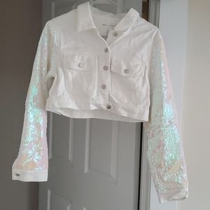 White jacket with sequin sleeves
